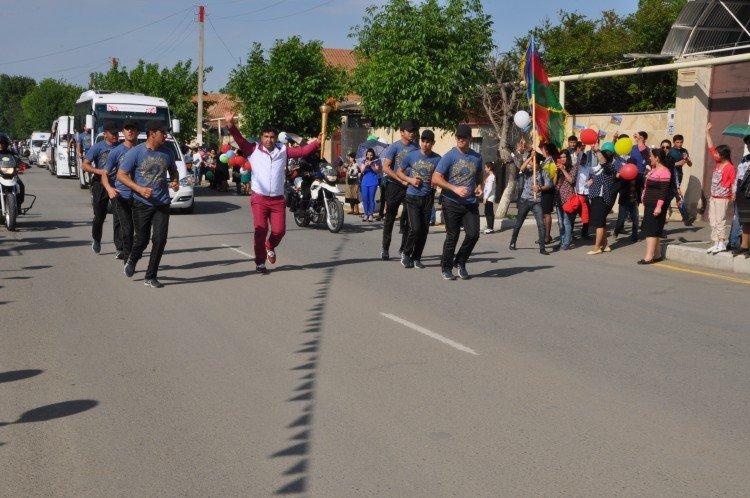 Samux rayonunun giriş qapısında Avropa Oyunlarının məşəlinin qarşılanma mərasimi oldu