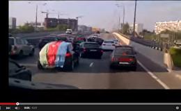 Свадебный кортеж азербайджанцев перекрыл трассу в Москве