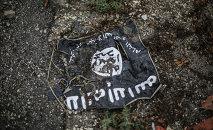 The flag of the radical Islamist organization Islamic State of Iraq.