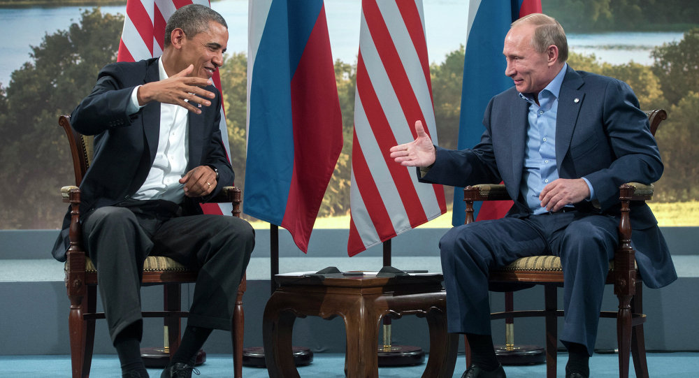 US President Barack Obama and Russian President Vladimir Putin prepare to shake hands after their meeting during the G8 Summit at Lough Erne in Enniskillen, Northern Ireland, June 17, 2013