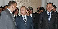 Президент Азербайджана Ильхам Алиев, президент России Владимир Путин и президент Турции Реджеп Эрдоган (слева направо)