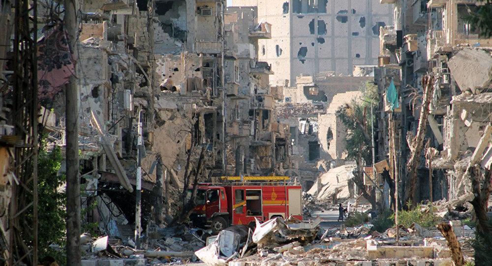 Suriyada bombalanmış şəhər