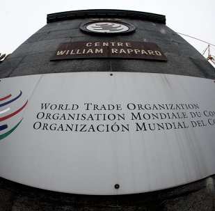 World Trade Organization (WTO) logo at the entrance of the WTO headquarters in Geneva