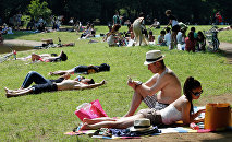 People lie and sunbathe at a park in Tokyo, Sunday, June 1, 2014