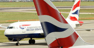 British Airways airplanes are seen at Heathrow Airport in London.