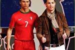 Kriştianu Ronaldo mum heykəli ilə birlikdə