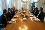 Встреча министра культуры и исламской ориентации Ирана Али Джаннати с министром культуры и туризма Азербайджана Абульфасом Гараевым.