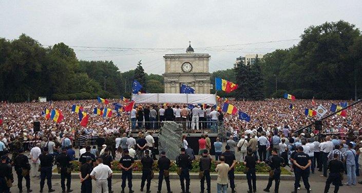 Kişinyovda hökumət əleyhinə mitinqlər - Moldova