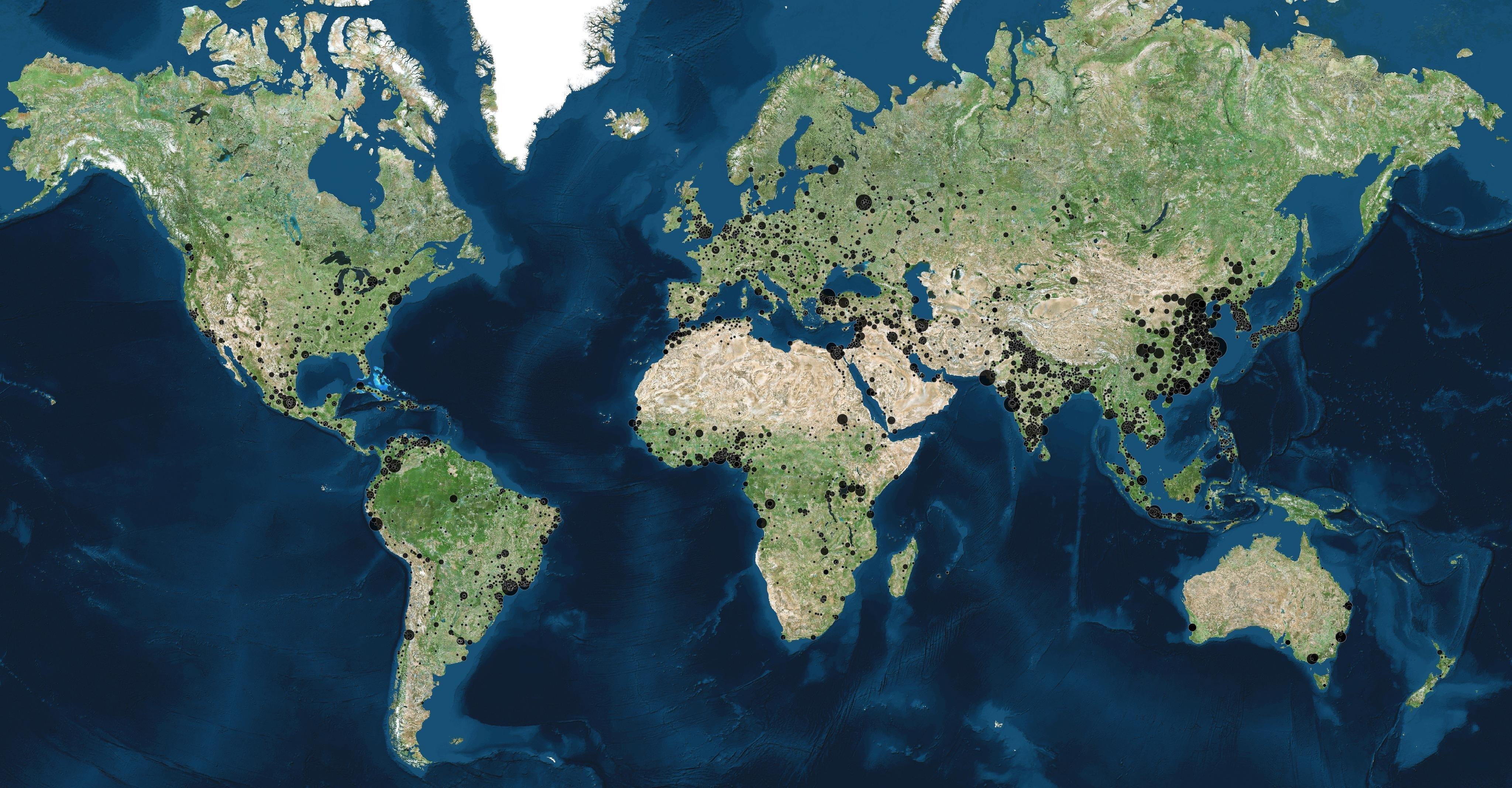 100 000 nəfərdən artıq əhalisi olan şəhərlərin xəritəsi