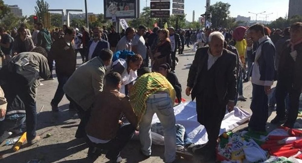 Место взрыва в Анкаре