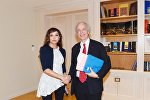 Встреча Первой леди Азербайджана, президента Фонда Гейдара Алиева Мехрибан Алиевой с ректором Страсбургского университета Аленом Берецом