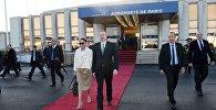 Президент Ильхам Алиев с супругой в аэропорту Орли в Париже