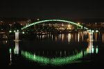 Illuminated bridge across Sava in Belgrade