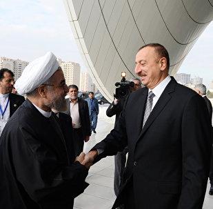 Azərbaycan Respublikasının prezidenti İlham Əliyevlə İran İslam Respublikasının prezidenti Həsən Ruhaninin görüşü. Arxiv şəkli