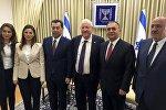 İsrail prezidenti ilə görüş - Emiliya Xudiyeva, deputatlar Sevinc Fətəliyeva, Səməd Seyidov, Ruvi Rivlin (İsrail prezidenti), Asim Mollazadə, Yevda Abramov