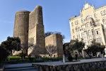 Вид на Девичью башню (Гыз галасы) с бакинского бульвара, фото из архива