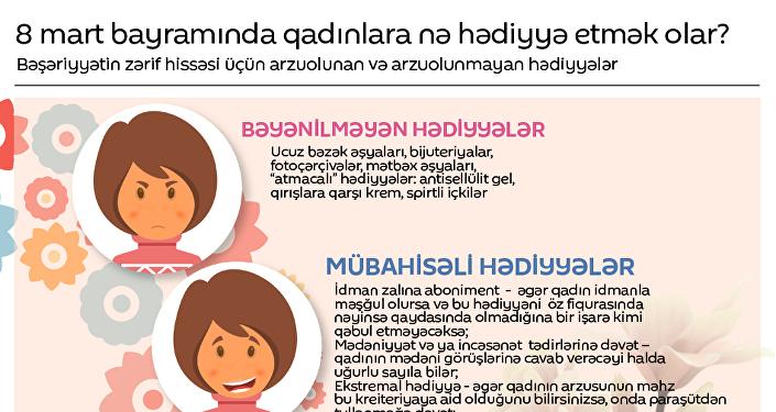 8 mart bayramında qadınlara nə hədiyyə etmək olar?