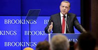 Turkish President Tayyip Erdogan speaks at the Brookings Institute in Washington March 31, 2016