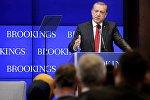 Turkish President Tayyip Erdogan speaks at the Brookings Institute in Washington March 31, 2016