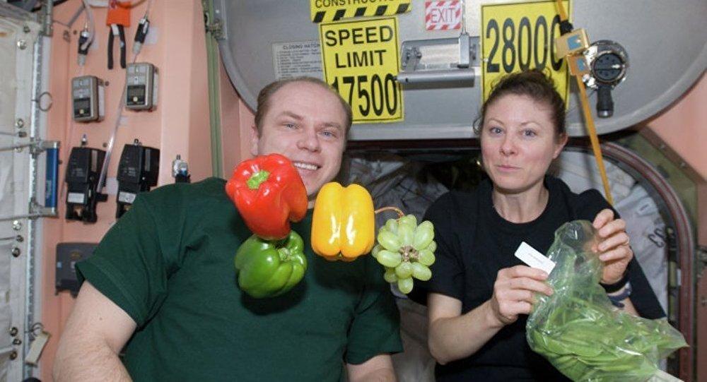 Космонавты на борту МКС. Архивное