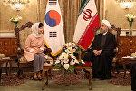 İran prezidenti Həsən Ruhani və Cənubi Koreyanın dövlət başçısı Pak Kın Henin görüşü