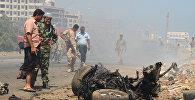 Взрыв заминированного автомобиля на центральной площади портового города Аден, Йемен