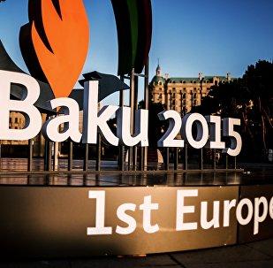Символика первых Европейских игр - 2015 в Баку. Архивное фото