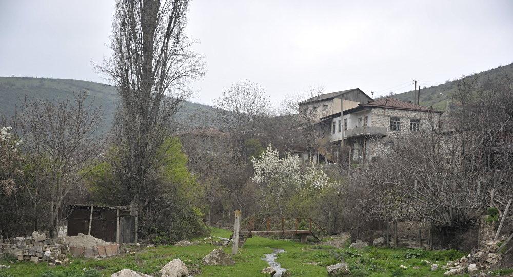Вид на оккупированный город Агдере, Азербайджан