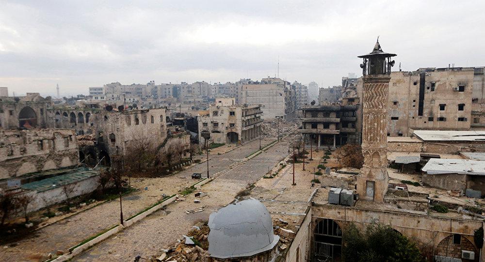 Общий вид на линию фронта в Старом городе Алеппо