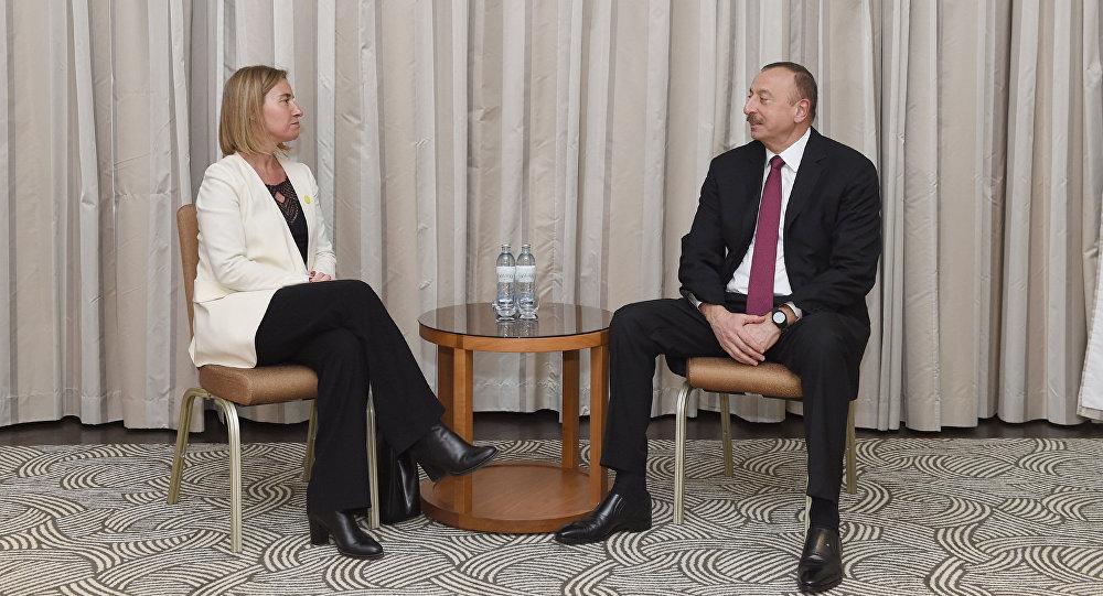 Встреча Ильхама Алиева с Федерикой Могерини