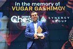 Şəhriyar Məmmədyarova Shamkir Chess 2016 turninin qalibi üçün hazırlanan kubok təqdim edilib