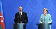 Пресс-конференция по итогам переговоров канцлера Германии Ангелы Меркель и Президента Азербайджана Ильхама Алиева