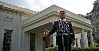 Ukraynanın baş naziri Vladimir Qroysman ABŞ-ın vitse-prezidenti Co Baydenlə görüşdən sonra Ağ Evin qarşısında mətbuata açıqlama verir