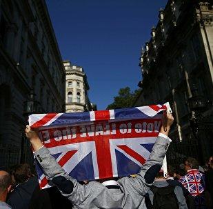 Başının üstünə üzərində Avropa İttifaqından çıxmağa səs ver yazılmış Böyük Britaniya bayrağı qaldırmış London sakini