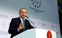 Президент Турции Реджеп Тайип Эрдоган выступает на мероприятии, организованном Ассоциацией промышленников и предпринимателей Турции