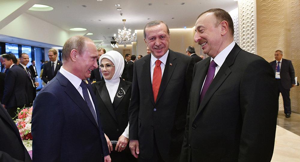 Vladimir Putin, Rəcəb Tayyip Ərdoğan və İlham Əliyev. Arxiv şəkli