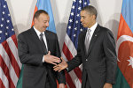 Prezident Obama Azərbaycan prezidenti İlham Əliyevi qarşılayır. Nyu-York, 24 sentyabr 2010