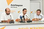 Теологи Гаджи Адыль Гусейноглу, Акрам Гасанов и политолог Ильгар Велизаде (слева направо)