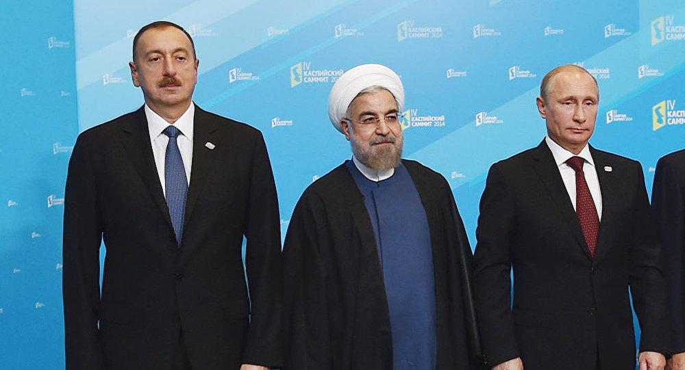 Ильхам Алиев, Хасан Рухани и Владимир Путин на IV саммите глав государств Прикаспийских стран. Астрахань, 29 сентября 2014 года