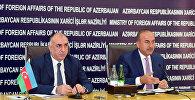 Совместная пресс-конференция глав МИД Азербайджана и Турции в Баку. 15 июля 2016 года