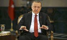 Президент Турции Реджеп Тайип Эрдоган дает интервью агентству Reuters в Президентском дворце в Анкаре