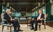 Президент Турции Реджеп Тайип Эрдоган дает интервью германскому телеканалу ARD