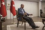 """Türkiyə prezidenti Rəcəb Tayyib Ərdoğan fransanın """"Le-Monde"""" qəzetinə müsahibə verir. Ankara, Prezident sarayı, 6 avqust 2016-cı il"""