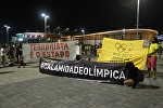 Акция протеста в Олимпийском парке Рио-де-Жанейро