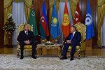 Azərbaycan Respublikasının Prezidenti İlham Əliyevin Qazaxıstan Respublikasının Prezidenti Nursultan Nazarbayev ilə görüşü. Astana, 11 sentyabr 2015-ci il