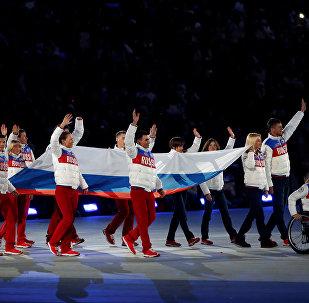 Представители России перед началом церемонии закрытия XI зимних Паралимпийских игр в Сочи.