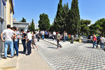 Beynəlxalq Bankın Mətbuat filialı qarşısında növbə