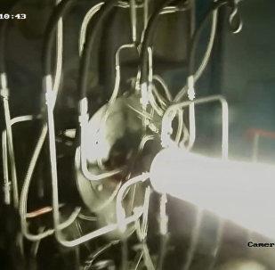 Кадры испытания экологически чистого ракетного двигателя