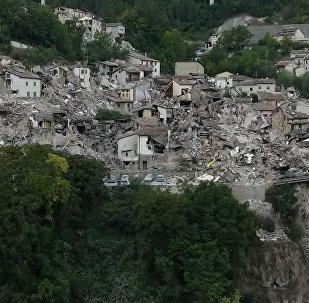 Воздушная съемка разрушений, вызванных землетрясением в Италии
