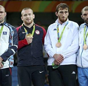 Церемония награждения борцов в Рио